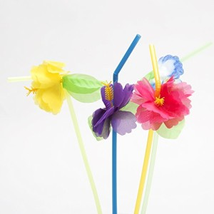 Hibiscus Flower Bendable Straws