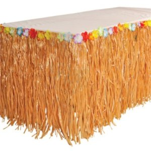 RINCO Luau Natural Color Grass Table Skirt Decoration with Tropical Flowers, 9' x 29""