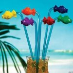 Fun Express FX IN-3/1564 Plastic Tropical Fish Straws (Pack of 12)