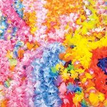 Fun Express Mega Silk Lei Flower Assortment for Tropical Hawaiian Luau Party Favors (50 Count)