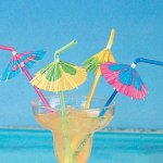 24 Multicolored Cocktail Parasol Umbrella Straws