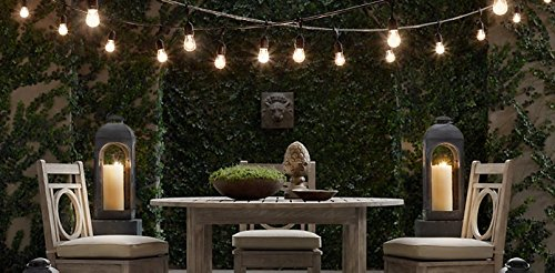 SHINE HAI Outdoor String Lights With 24 Dropped Sockets (26 Bulbs Included)  Weatherproof Commercial Grade String Lights Perfect For Patio Lights Party  ...