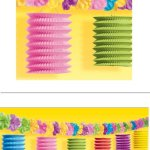 Amscan Hawaiian Summer Luau Beach Tiki Lounge Flowers & Lantern Garland (1 Piece), Multi Color, 10 x 10.2""