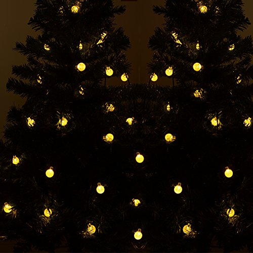 dephen led christmas lighting solar powered197 ft 30 led waterproof string lights warm white crystal ball starry string lights decorative lighting for