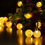 Dephen Led Christmas Lighting Solar Powered,19.7 ft 30 Led Waterproof String Lights Warm White Crystal Ball Starry String Lights Decorative Lighting for Outdoor Garden Yard Patio Party Home Room Trees