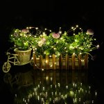 Dephen Solar Powered String Lights,20ft 120 LED Warm White Copper Wire Starry Fairy Christmas String Lights Decor Rope Ambiance Lighting for Outdoor Gardens Wedding Home Decoration
