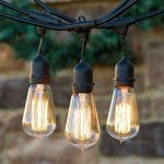 Brightech - Ambience Pro Vintage Edition - Outdoor Weatherproof Commercial-Grade String Lights - WeatherTite Technology - 15 Edison Bulbs Included - 40 Watts - 48-Foot Strand - Black