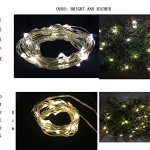 Battery Operated Micro Starry Fairy String Lights Waterproof Copper Wire Rope for Christmas Party Patio Outdoor Decor Indoor Bedroom 6.6Ft 20LEDS, Pack of 5