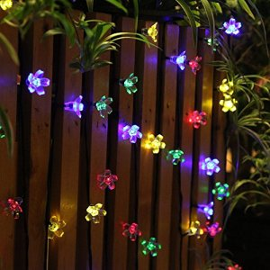 Innoo Tech Solar String Lights Outdoor Flower Garden Light 21ft 50 LED Multi Color Blossom Lighting for Christmas, Garden Indoor Wedding Party Decoration Patio Light RBG Fairy