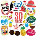 Hawaiian Themed Photo Booth Props Kit - DIY Luau Party Supplies for Kids Birthdays, Beach parties, Summer Festivals & Celebrations, Pool parties & other Special Events