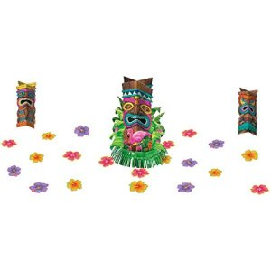 Amscan Sun-Sational Summer Luau Party Tropical Tiki Table Decorating Kit (23 Pack), Multi Color, 13.8 x 12""