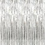 Rhode Island Novelty Metallic Silver Foil Fringe Curtains (1 Piece)