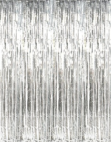 Rhode Island Novelty Metallic Silver Foil Fringe Curtains 1 Piece