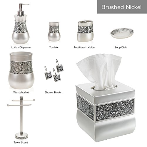 Creative scents tissue box cover square decorative tissue for Silver mosaic bathroom accessories