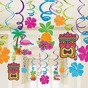 Amscan Sun-Sational Summer Luau Tropical Tiki Swirl Decorations Mega Pack (30 Piece), Multi Color, 17.4 x 9.6""