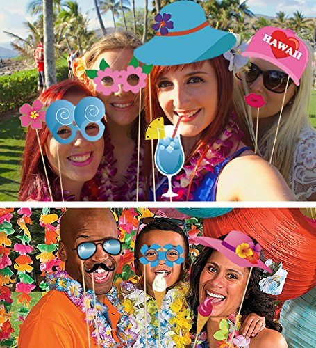60 Pieces Hawaiian Photo Booth Props Summer Beach Party Essential Decorations