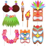 Luau Hawaiian Photo Booth Props Kit,For Holiday, Beach Pool Parties,Birthdays Party Decoration Supplies-60 Kits