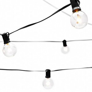 Deneve Globe String Lights with G40 Bulbs (25ft.) - Connectable Outdoor Garden Party Patio Bistro Market Cafe Hanging Umbrella Lamp Backyard Lights 100% Guarantee on Light String (Black)