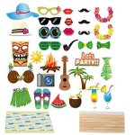 Luau Hawaiian Themed Photo Booth Props Kit for Holiday, Summer Festivals Celebrations, Beach Pool Wedding Birthdays Party Supplies - 32 Pcs