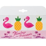 Party Partners Shaped Cake Candle Set, Flamingos and Pineapples